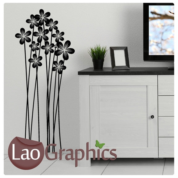 tall flower stems modern interior wall stickers home decor art