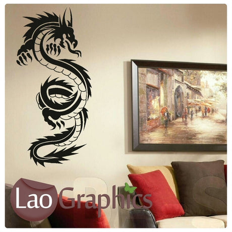 Tall Oriental Dragon Oriental Wyvern Fantasy Wall Stickers Home Decor Art Decals-LaoGraphics