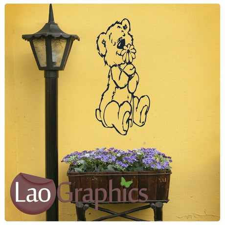 Teddy and Flower Wall Stickers Home Decor Art Decals-LaoGraphics
