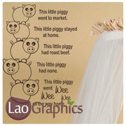 This Little Piggy Went to Market Wall Stickers Home Decor Art Decals-LaoGraphics