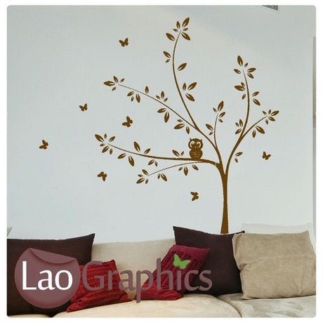 Tree & Owl Nature Wall Stickers Home Decor Large Tree Art Decals-LaoGraphics