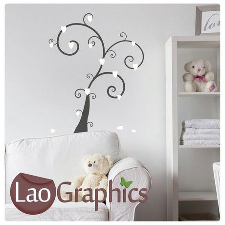 Tree With Heart Leaves Girls Room Wall Stickers Home Decor Pretty Art Decals-LaoGraphics