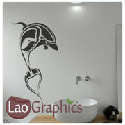 Tribal Dolphin Girls Room Aquatic Wall Stickers Home Decor Art Decals-LaoGraphics