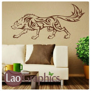 Tribal Wolf Wild Animals Wall Stickers Home Decor Art Decals-LaoGraphics