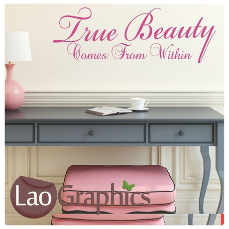 True Beauty Lies Within Inspiring Quote Wall Stickers Home Decor Art Decals-LaoGraphics