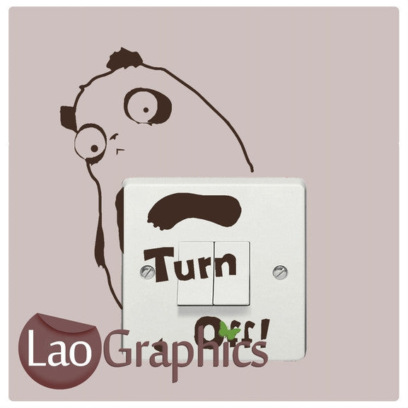 Turn Off Panda Light Switch Light Switch Art Decals Home Decor Cute