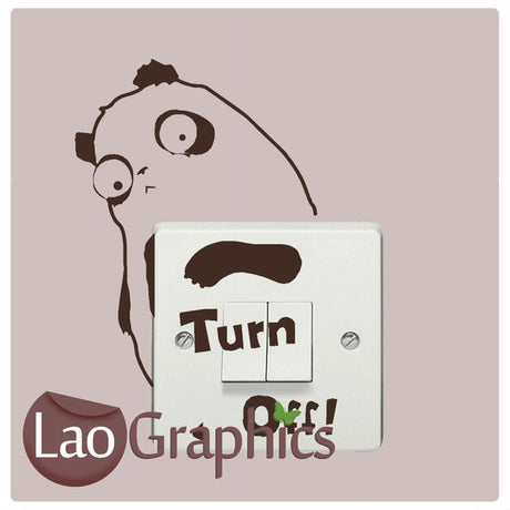 Turn Off Panda Light Switch Light Switch Art Decals Home Decor Cute Wall Stickers-LaoGraphics