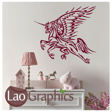 Unicorn Horse Girls Room Wall Stickers Home Decor Animal Art Decals-LaoGraphics