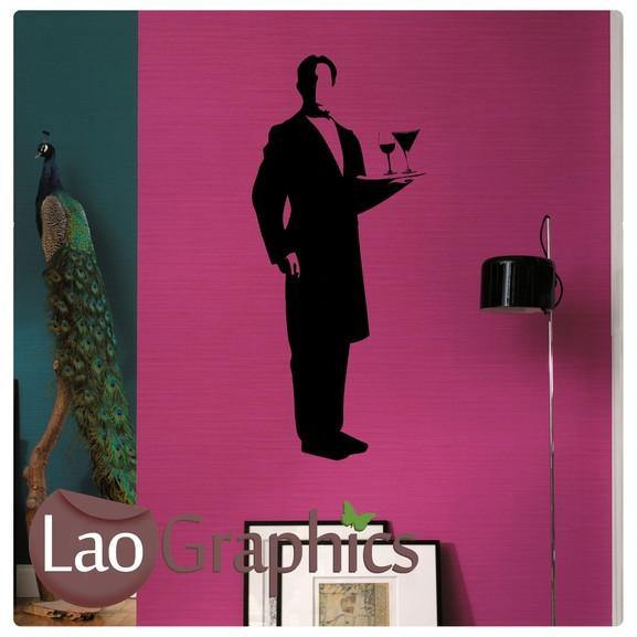 Waiter Vinyl Transfer Wall Stickers Home Decor Art Decals-LaoGraphics