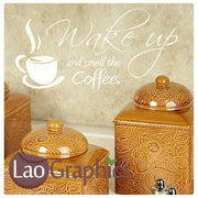 Wake Up & Smell The Coffee Kitchen Quote Wall Stickers Home Decor Art Decals-LaoGraphics