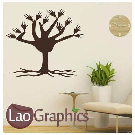 Waving Hands Tree Nature Wall Stickers Home Decor Large Tree Art Decals-LaoGraphics