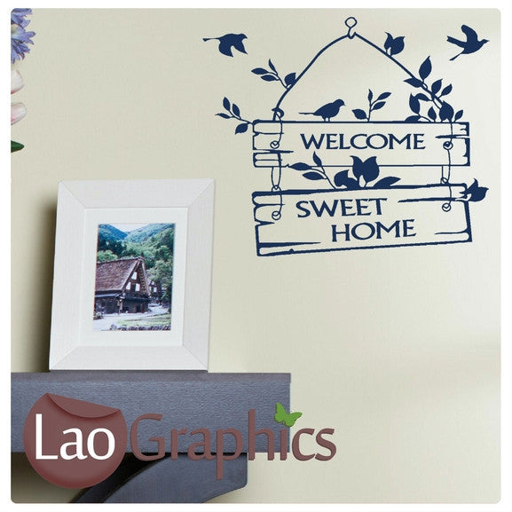 Welcome Sweet Home Sign Quote Wall Stickers Home Decor Art Decals-LaoGraphics