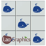Whale Kitchen / Bathroom Tile Transfers Home Decor Art Decals-LaoGraphics