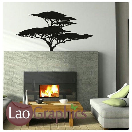 Wide African Tree African Wall Sticker Home Decor Africa Art Decals-LaoGraphics