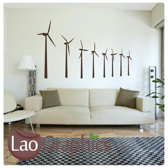 Windmills Vinyl Transfer Wall Stickers Home Decor Art Decals-LaoGraphics