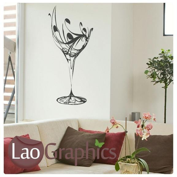 Wine Glass Large Kitchen Wall Stickers Home Decor Art Decals LaoGraphics