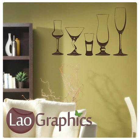 Wine Glasses Dining Room Large Kitchen Wall Stickers Home Decor Art Decals-LaoGraphics