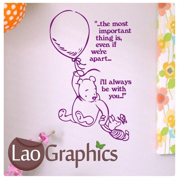 Winnie the Pooh Quote Wall Stickers Home Decor Art Decals-LaoGraphics