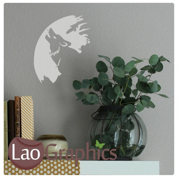 Wolf in The Moonlight Wild Animals Wall Stickers Home Decor Art Decals-LaoGraphics