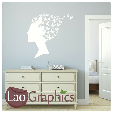 Woman & Butterfly Hair Girls Bedroom Wall Stickers Home Decor Art Decals-LaoGraphics
