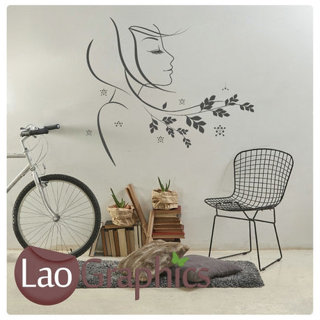 Woman & Flower Hair Salon Girls Hair & Beauty Wall Stickers Home Decor Art Decals-LaoGraphics