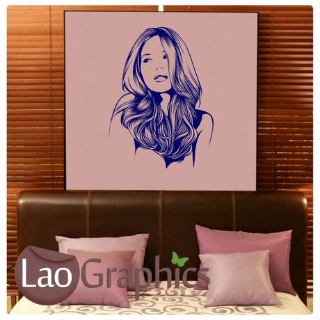 Woman Head Beauty Salon Girls Hair & Beauty Wall Stickers Home Decor Art Decals-LaoGraphics