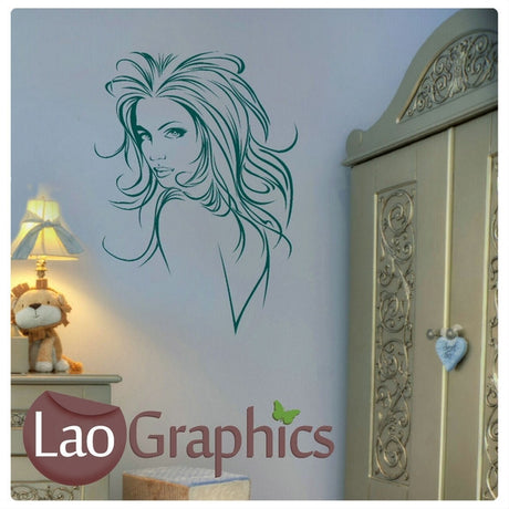 Woman Head Hair Salon Girls Hair & Beauty Wall Stickers Home Decor Art Decals-LaoGraphics
