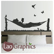 Woman in a Hammock Vinyl Transfer Wall Stickers Home Decor Art Decals-LaoGraphics