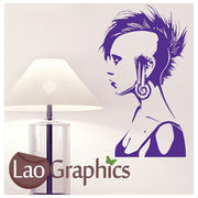 Woman Punk Rocker Culture Wall Stickers Home Decor Art Decals-LaoGraphics