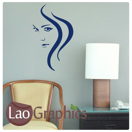 Woman & Swirl Girls Hair & Beauty Wall Stickers Home Decor Art Decals-LaoGraphics