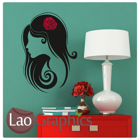 Womans Head & Flower Girls Hair & Beauty Wall Stickers Home Decor Art Decals-LaoGraphics