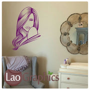 Womans Head Salon Girls Hair & Beauty Wall Stickers Home Decor Art Decals-LaoGraphics