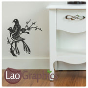 x2 Birds on a Branch Decorative Nature Wall Stickers Home Decor Art Decals-LaoGraphics