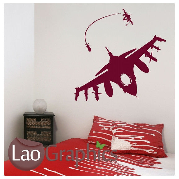 x2 Fighter Jets Military & Army Wall Stickers Home Decor Art Decals-LaoGraphics