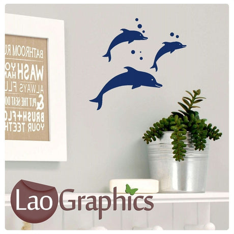 x3 Bargain Dolphins Girls Room Aquatic Wall Stickers Home Decor Art Decals-LaoGraphics