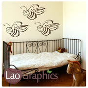 x3 Bumble Bees Cute Nursery Wall Stickers Home Decor Childrens Art Decals-LaoGraphics