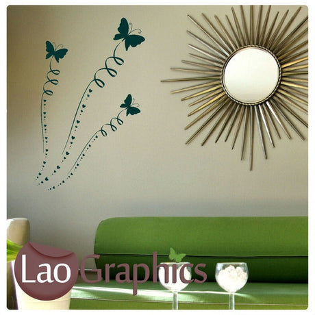 x3 Butterflies & Ribbons Girls Bedroom Wall Stickers Home Decor Art Decals-LaoGraphics