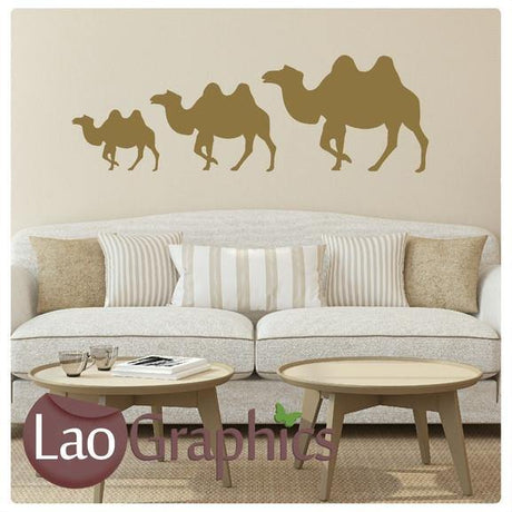 x3 Camels Theme Style Wall Stickers Home Decor Art Decals-LaoGraphics
