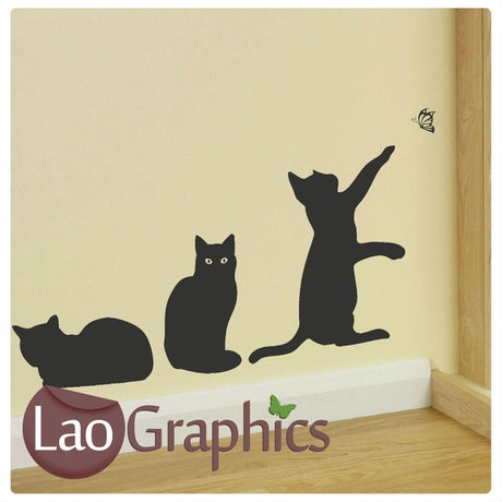x3 Cats House Cats Wall Stickers Home Decor Feline Art Decals-LaoGraphics