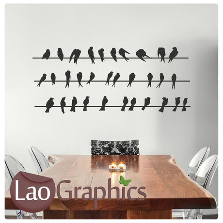 x3 Powerlines & Birds Modern Birds Wall Stickers Home Decor Art Decals-LaoGraphics