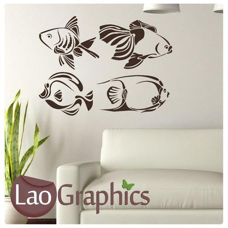 x4 Fish Wall Stickers Home Decor Art Decals-LaoGraphics