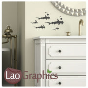 x5 Hammerhead Sharks Bargain Wall Stickers Home Decor Art Decals-LaoGraphics