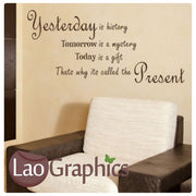 Yesterday is History Quote Inspiring Quote Wall Stickers Home Decor Art Decals-LaoGraphics