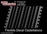 Flexible Decal Strips Large Medium & Small Castellations X 10