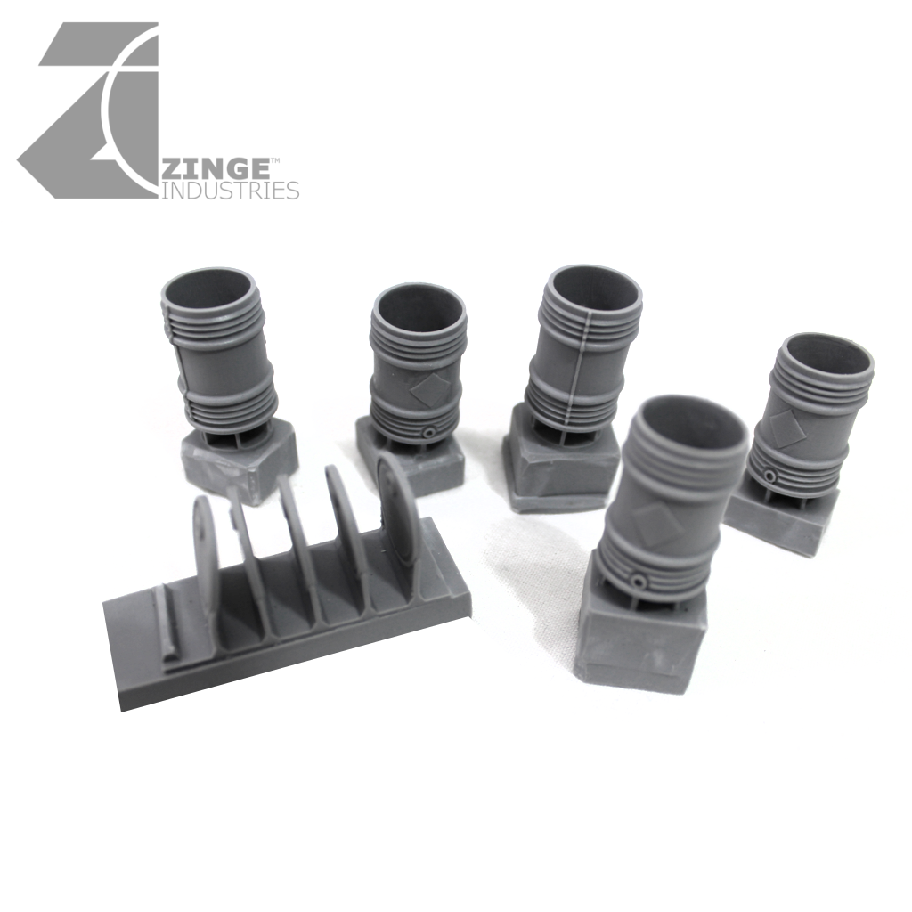 Hollow Crushable Barrels and Lids - Sprue of 5