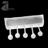 Bulkhead Lights - Sprue of 5 - 5mm Round Bulkhead Light - Transparent Light Diffuser