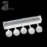 Bulkhead Lights - Sprue of 5 - 10mm Round Bulkhead - Transparent Light Diffuser