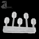 Bulkhead Lights - Sprue of 5 - 15mm Oval Bulkhead - Transparent Light Diffuser