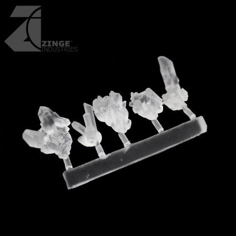 Dark Magic Crystals - Sprue of 5 - Various Large - Transparent Light Diffuser