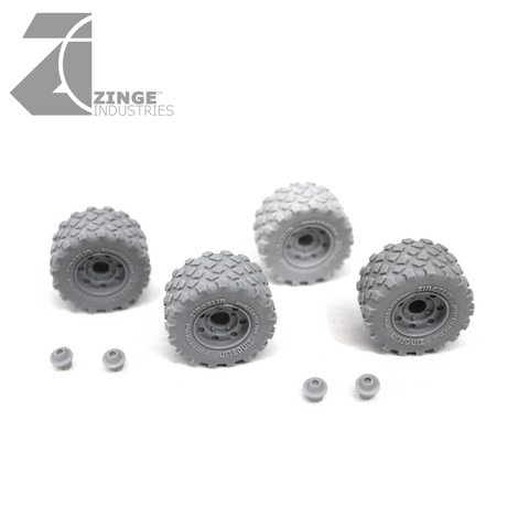 Wheels - 27mm Military Wheel Wide X 4 Sprue